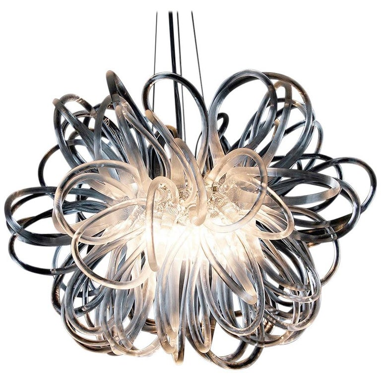 Handmade Glass Chandelier with Loops 'Anemone' by German Artist R. Scholle For Sale