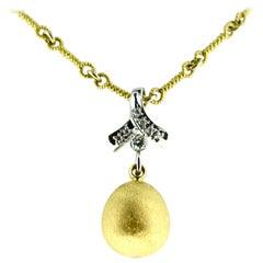 Handmade Gold Dangle Sphere with Diamonds Neck Piece