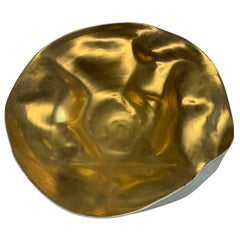 18K Gold Leaf Large Handmade Freeform Bowl, Italy, Contemporary