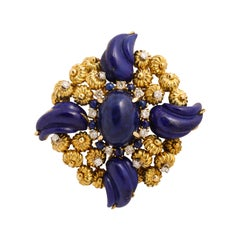 Handmade Gold Pin with Carved Lapis and Diamonds