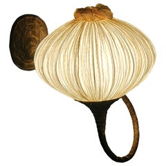 Handmade Gold Pleated Silk Palm Wall Ceiling Light