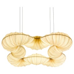Handmade Gold Pleated Silk Rotini 55x55 inch Pendant Lamp