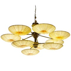 Handmade Gold Pleated Silk Sunsa 10 Chandelier
