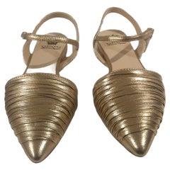 Handmade gold tone leather sandals - ballerinas