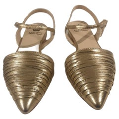 Handmade gold tone leather sandals - ballerinas