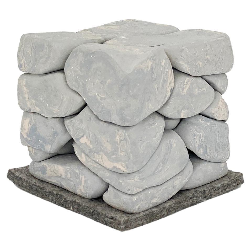 Handmade Gray Ceramic Puzzle Sculpture, in Stock