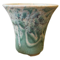 Handmade Green and White Glazed Ceramic Planter