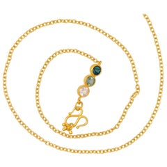 Handmade Green Tourmaline 20 Karat Gold Chain Necklace