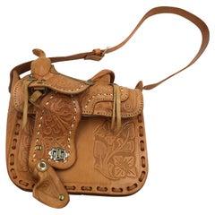 Handmade, Artisan Hand Tooled Mexican Leather and Sheepskin Saddle Shoulder Bag