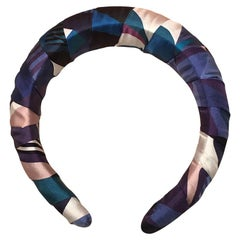 Handmade Hermes Blue Les Facèties de Pègase Silk Scarf Padded Headband Crown