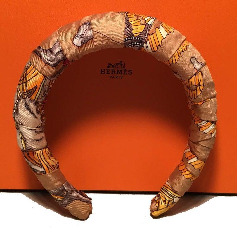 Brown Handmade Hermes Vintage Gold Les Fetes Du Roi Soleil Silk Scarf Padded Headband