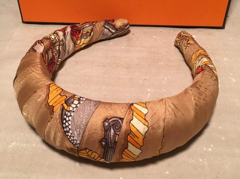 Women's Handmade Hermes Vintage Gold Les Fetes Du Roi Soleil Silk Scarf Padded Headband