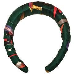 Handmade Hermes Vintage Les Folies Du Ciel Green Silk Scarf Padded Headband