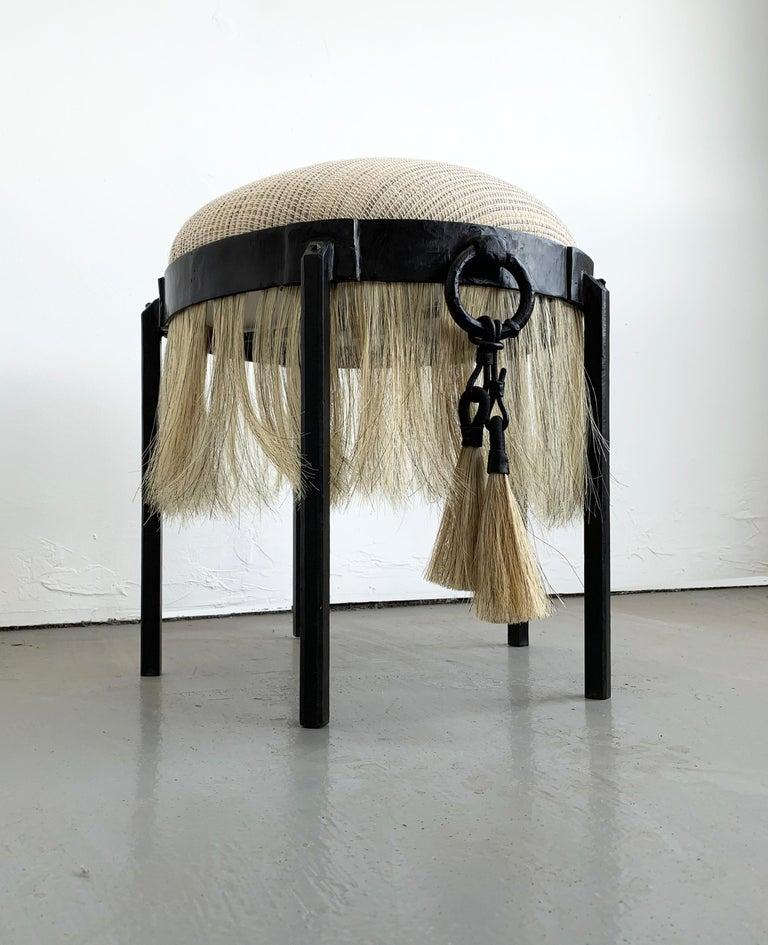 Modern Handmade Horse Hair and Iron Round Stool by Alexandra Kohl and J.M. Szymanski For Sale