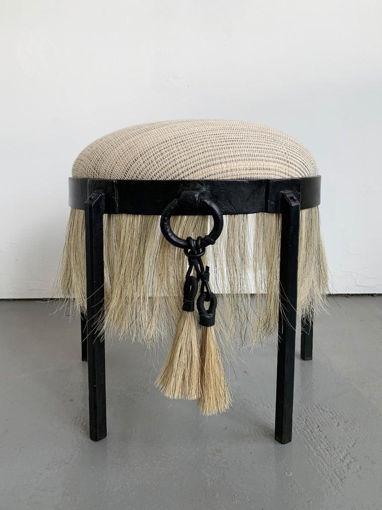American Handmade Horse Hair and Iron Round Stool by Alexandra Kohl and J.M. Szymanski For Sale