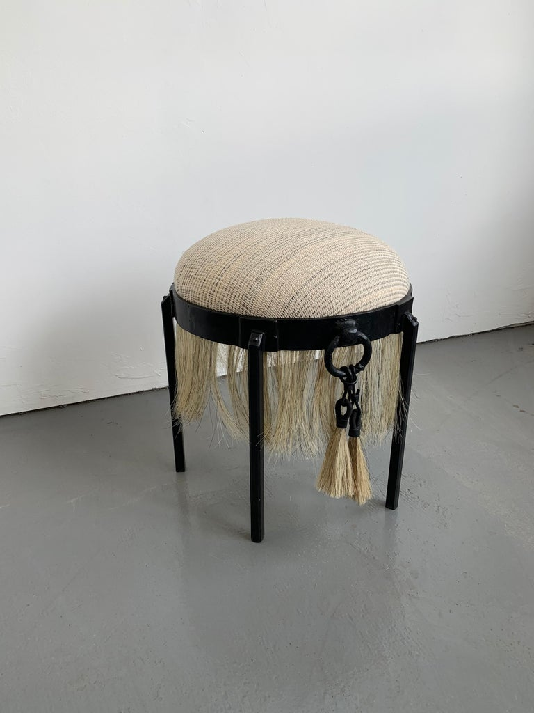 Modern Medieval Handmade Horse Hair and Iron Round Stool by J.M. Szymanski In New Condition For Sale In Bronx, NY