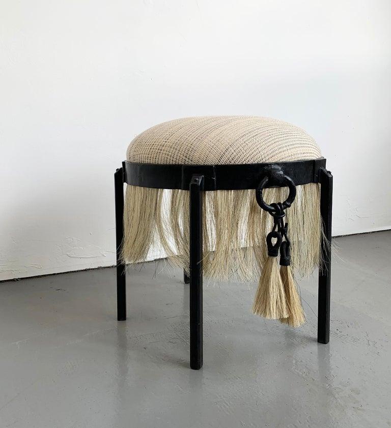 Contemporary Modern Medieval Handmade Horse Hair and Iron Round Stool by J.M. Szymanski For Sale