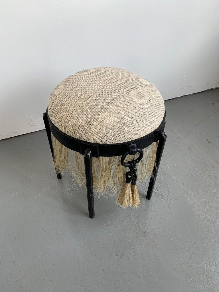 Contemporary Handmade Horse Hair and Iron Round Stool by Alexandra Kohl and J.M. Szymanski For Sale