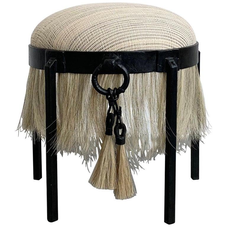 Handmade Horse Hair and Iron Round Stool by Alexandra Kohl and J.M. Szymanski For Sale