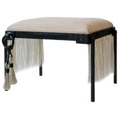 Stool/Bench Modern Medieval Handmade Horsehair Iron Woven Textile Fringe Tassel