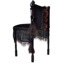 Modern Medieval Handmade Horsehair & Iron Side Chair designed by J.M. Szymanski