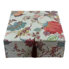 Handmade in France Floral Print Linen Decorative Storage Box for Scarves