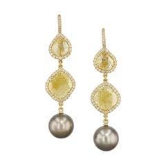 Handmade Intense Yellow Diamond Slice Earrings with Tahitian Pearls