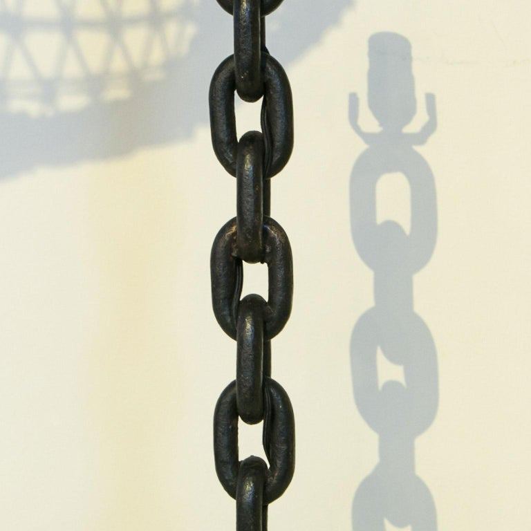 Handmade Iron Chain Table Lamp In Excellent Condition For Sale In Houston, TX
