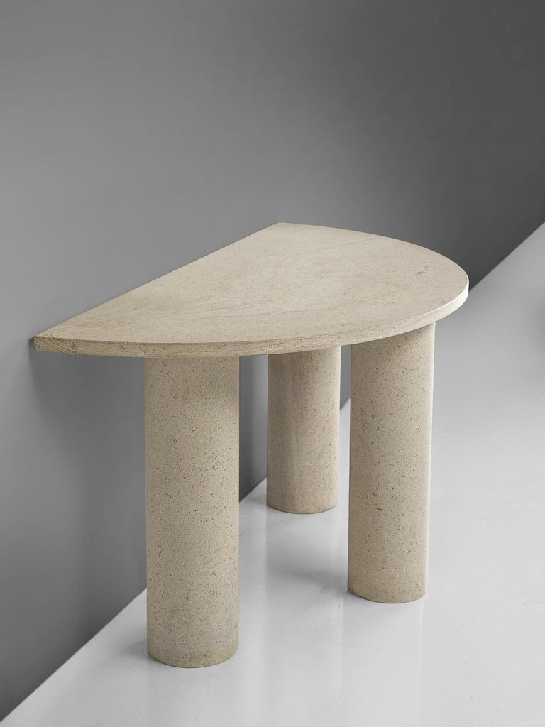 Handmade Italian Half Moon Console Table In Granite For Sale At