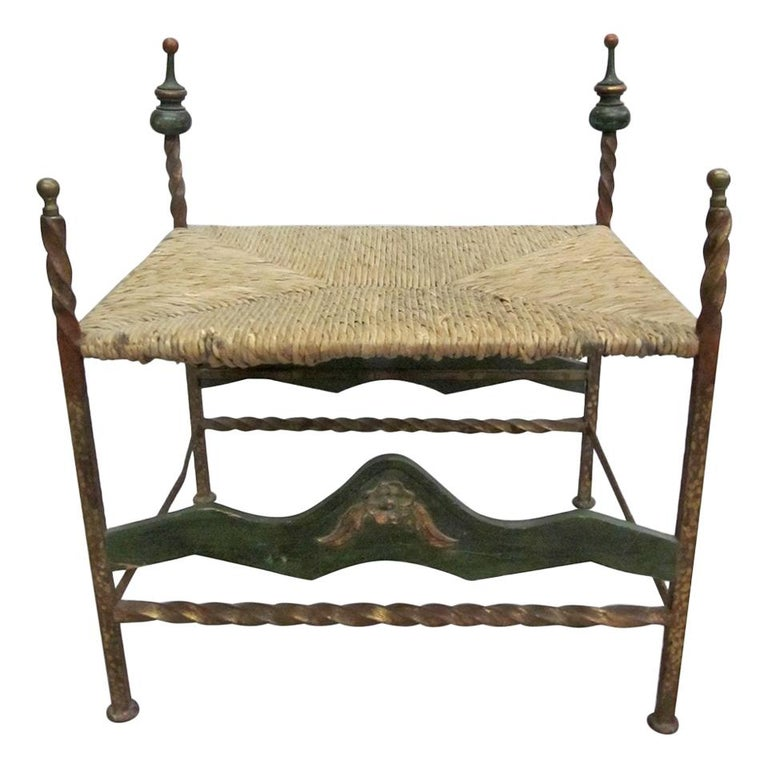 Handmade Italian Midcentury Iron and Straw / Rattan Stool or Bench For Sale