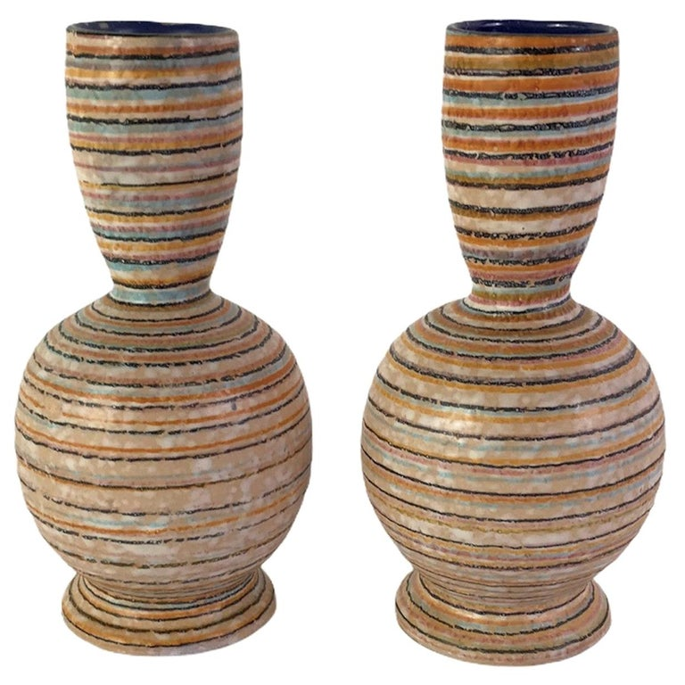 Handmade Italian Modern Striped Pottery Vases Retailed by Guildcraft 1960s, Pair For Sale