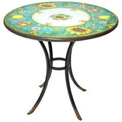 Handmade Italian Volcanic Art D'Italia Imports Table, Sunflowers and Lemons
