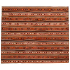Handmade Jajim Tapestry Rug from Orange Azerbaijan Wool Flat-Weave
