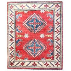Handmade Carpet  Kazak Red Bedroom Rugs Geometric Patterned Oriental Rug