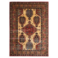 Handmade Kazak Cream Rugs, Traditional Carpet, Geometrical Gold Rug