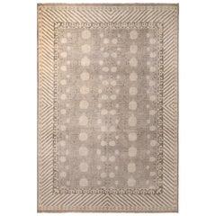 Rug & Kilim's Handmade Khotan Style Rug in Beige Gray Pomegranate Pattern