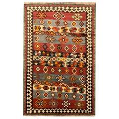 Handmade Kilim Rug Antique Wool Traditional Striped Tribal Kilim Carpet