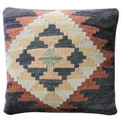 Handmade Kilim Rug Decorative Pillow, Blue Cushion Cover Aztec Design