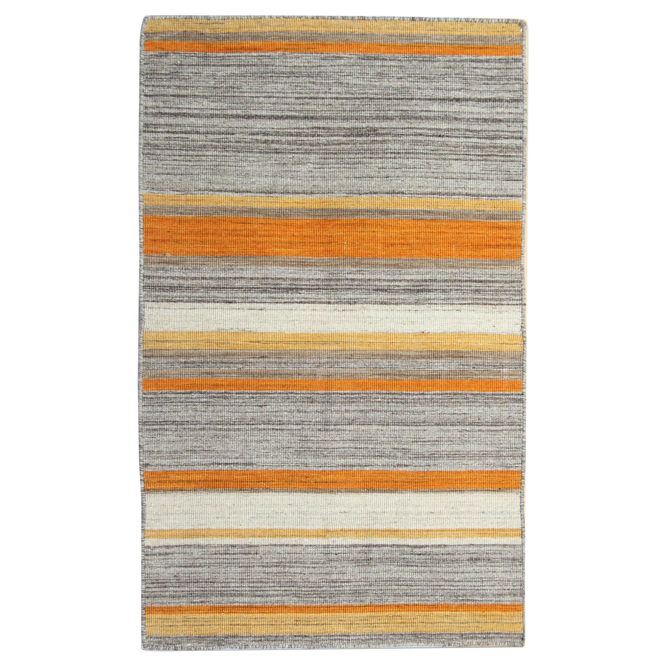 Handmade Kilim Rug Flat-Woven Kilims Carpet Orange Wool Area Rug