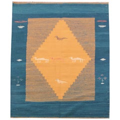 Handmade Kilim Rugs, Yellow Traditional Rugs, Afghan Colourful Carpet