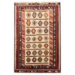 Handmade Kilims Antique Kilim Rug Geometric Wool Carpet