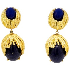 Handmade Lapis Lazuli 18 Karat Yellow Gold Earrings