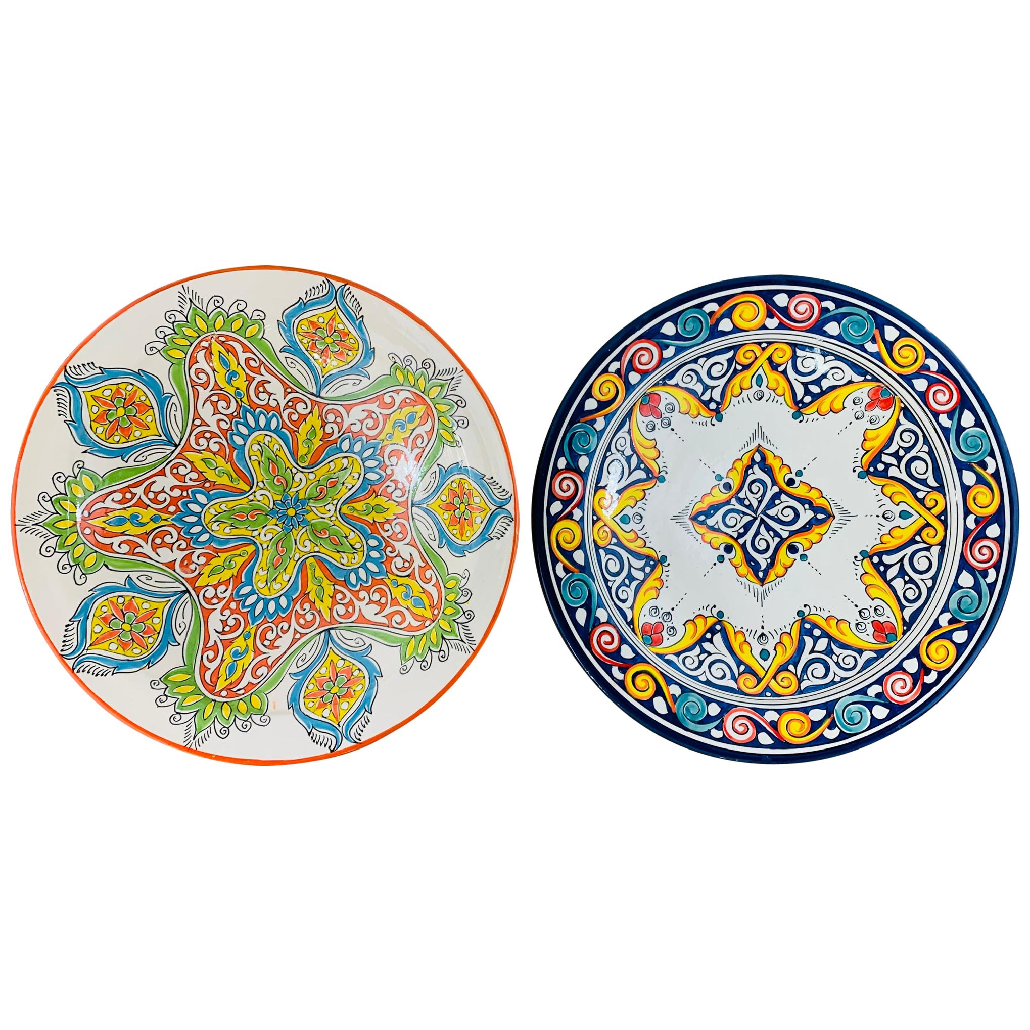 Handmade Large Ceramic Serving, Decorative or Center Table Plate, Set of 2