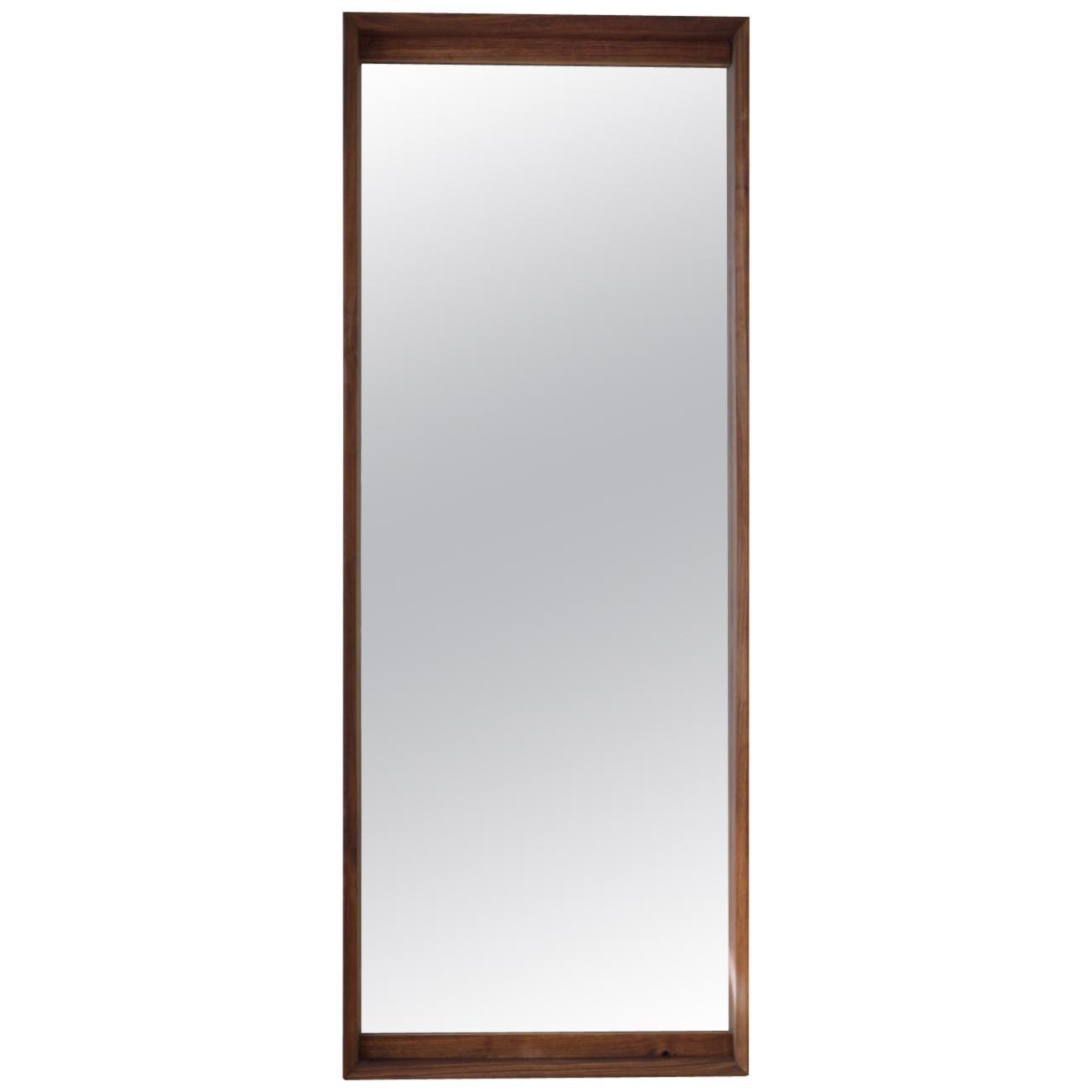 Handmade Large Format Floor Standing Walnut Mirror