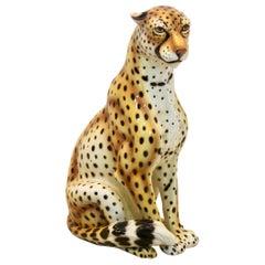Handmade Life Size Italian Ceramic Leopard Sculpture