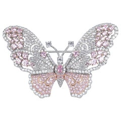Handmade Light Pink Butterfly Brooch Incrusted With Cubic Zirconia