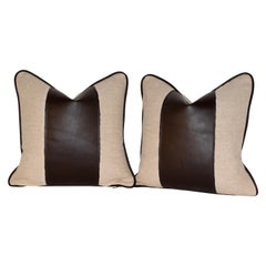 Handmade Linen Pillows with Leather Stripe and Welting
