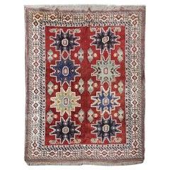 Handmade Living Room Rug, Vintage Red and Blue Wool Carpet Rug Kazak Area