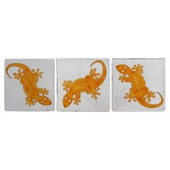 Handmade Majolica Gecko Tile, Made in Italy