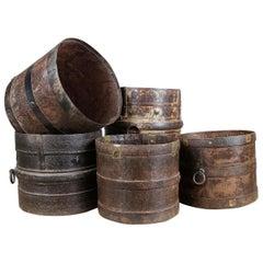 Handmade Metal Half Buckets or Plant Pot Holders, 20th Century